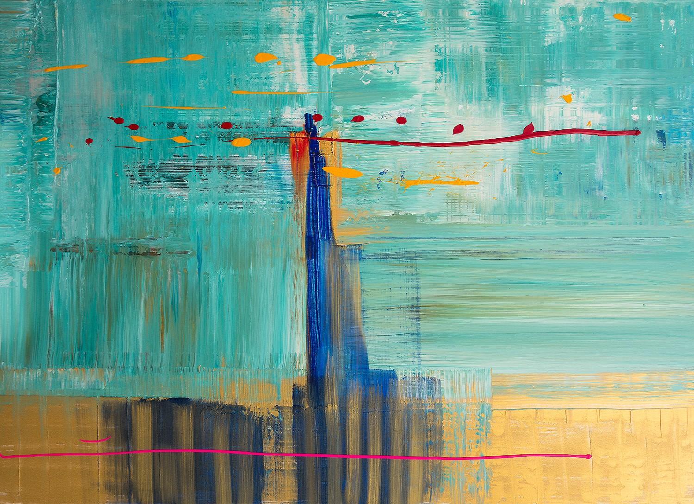 Der rote Faden, Acryl auf Leinwand von Ellen Buckermann100x140cm