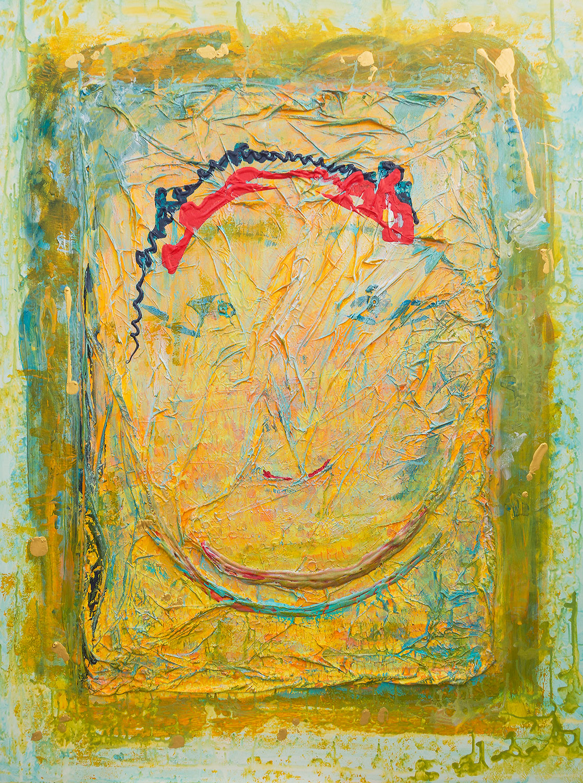 Acryl-Seiden-Bild mit Strukturen, Titel: Lächeln von Ellen Buckermann