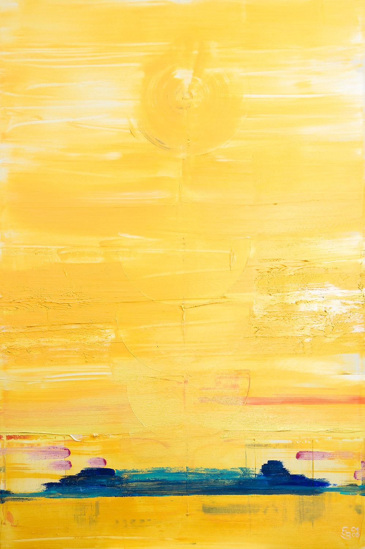 Mitten am Tag Acryl in Trägerstoffen auf Leinwand von Ellen Buckermann 100x150cm